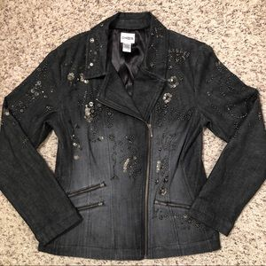 Chico's Denim Moto Biker Beaded Jacket Blazer 0 XS